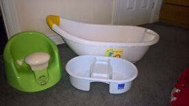 Baby bath, seat and top & tail bowl