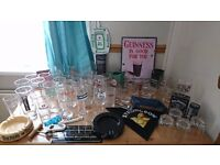 A selection on glasses and bar signs open to offers