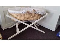 Mamas and Papas baby moses basket with stand white