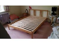 Ikea Sultan Pine Natural Wood Double Bed and Mattress - Excellent Condition