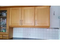 Solid oak kitchen cupboard doors/units with brushed chrome handles, excellent condition
