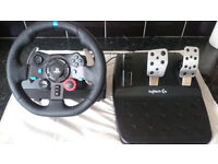 Logitec G29 steering wheel and pedals with GTEYE brake spring. for PS3, PS4 and PC
