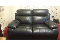 Black 2 Seater Reclining Sofa