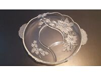 Decorative glass serving plate