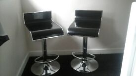 black/sliver bar stools x2
