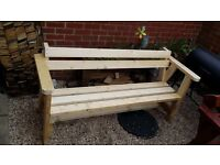 Garden bench with pine wood