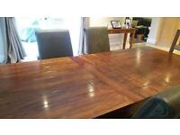 XL extendable table, 6 chairs and sideboard