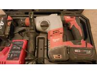 Milwaukee sds drill with carry case 3 x batteries & 2 chargers