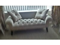 54Lx17wx21h. Beige buttoned velour small couch. As new