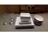 Crockery set, plates, bowls and glasses