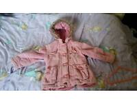 Little girls 3/4 years pink cord thick coat with fluffy lining
