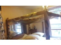 Wooden four post bed frame