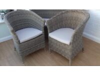 Rattan 2 seater sofa and 2 armchairs plus glass topped table
