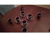 24 K gold Greek coffee cups and saucers and Goblets