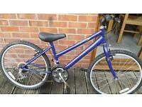 "Girls purple 24"" wheel mountain bike."