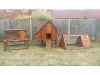 Hand made Animal homes, hen house, rabbit hutch, rabbit cage, rabbit run, chicken arch