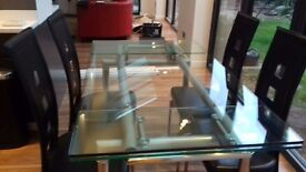 Glass dining table (extends) & chairs