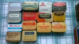 vintage tins, previously used for storing pins, needles and other dressmaking sundries