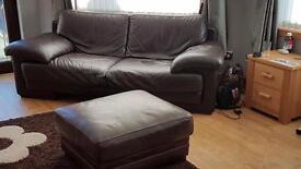 Natuzzi 4 seater, 3 seater & footstool