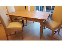 Witney Warehouse stripped table - painted legs and 4 chairs