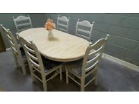 Beautiful Shabby Chic Extending table and six chair set