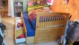 CAPTAINS BED. EXTRA FULL SIZE BED , STORAGE DRAWERS. PERFECT CONDITION. ORTHAPEADIC MATTRESS.