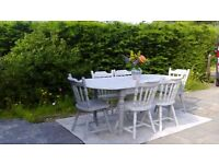 Large, Extending Dining Table & 6 Chairs. Grey and White, Shabby Chic. delivery Available.