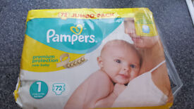 Pampers 72 JumboPack Size 1 New Born 2-5kg 4-11lbs unopened