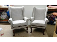 Vintage Wing back Chairs (pair) professionally re-upholstered - wingback design