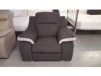 Display Item SiSi ITALIA MATTEO AMALIA CHARCOAL & SILVER FABRIC ARMCHAIR (2 AVAILABLE) CAN DELIVER