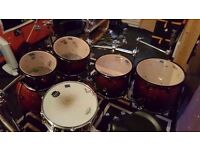 MAPEX ARMORY RED & BLACK 6 PC KIT AS NEW W/ EVANS G2 HEADS **SHELLS ONLY**