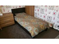 Single Leather Bed Frame Only