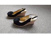 Black suede wedge heeled shoes size 5.5 (38.5)