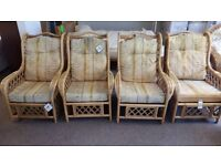 EXCELLENT CONDITION! set of 4 wicker/ cane chairs patio or garden furniture seats