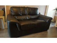 Like new black leather settee