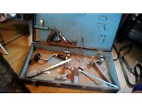"""vintage large tool box and tools ,26""""x13""""x4""""stanley tools"""