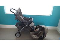 Graco Buggy with Car Seat and Winter Cover