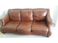 Brown leather sofa. Very good condition. For free with collection only