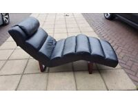 Black real leather chaise lounge with headrest