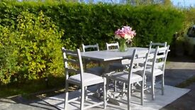 Stunning, 1940's Extending Dining Table & 6 Chairs. Paris Grey, Shabby Chic.