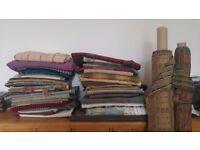 Fabric remnants including tartan/wool