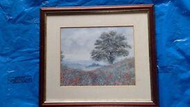 Rex Trayhorne signed framed poppy field print
