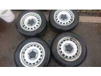 "15"" Steel wheels with centre caps and tyres VW caddy"