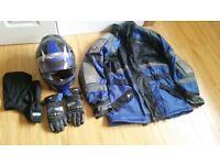 Jacket for Motorbike Waterproof and Armoured, Helmet, Gloves and Hood