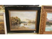 Antique oil painting fishing on the lough 1923