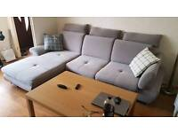 Corner sofa bed in grey fabric - very good condition - delivery available