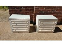 Pair of 3 drawer chests 'off white' with optional glass tops in good condition