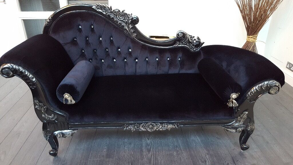 For sale black ornate french velvet chaise longue for Antique chaise longue for sale