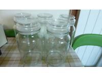 5 Douwe Egberts Extra large 400g glass storage jars.