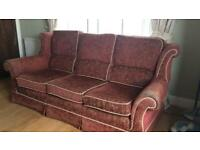 Used, REDUCED Wade 3 seater sofa - red and gold for sale  Marlow, Buckinghamshire